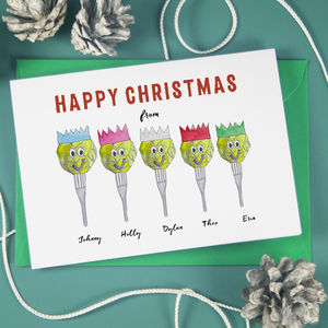 Personalised Brussels Sprout Family Christmas Cards - the brussels sprout collection