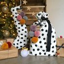 Monochrome Pom Pom Stocking And Santa Sack Set Pink
