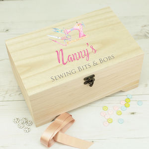 Personalised Wooden Sewing Craft Box
