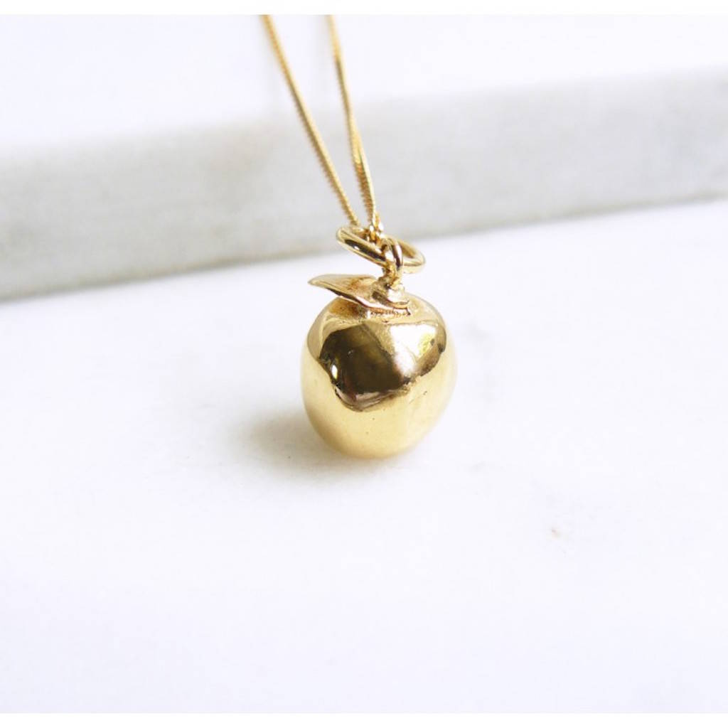 gold apple charm necklace by lime tree design ...