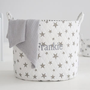 Personalised Large White Star Storage Bag - baby's first christmas
