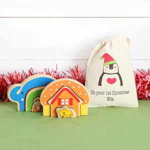 Wooden Puzzles With Personalised Cotton Bag - traditional toys & games