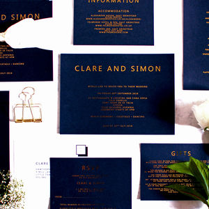 Black And Gold Foil Wedding Invitation - invitations