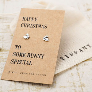 Happy Christmas Bunny Earrings
