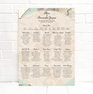 Travel Inspired Map Wedding Table Plan - room decorations