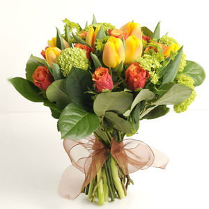 Orange Zest Tulip And Rose Bouquet - fresh flowers