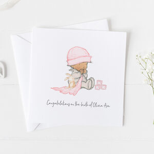 New Baby Card For Girls, Christening Card Girls ..3v10a