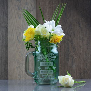 15th Wedding Anniversary Personalised Flower Vase Jar - storage & organisers