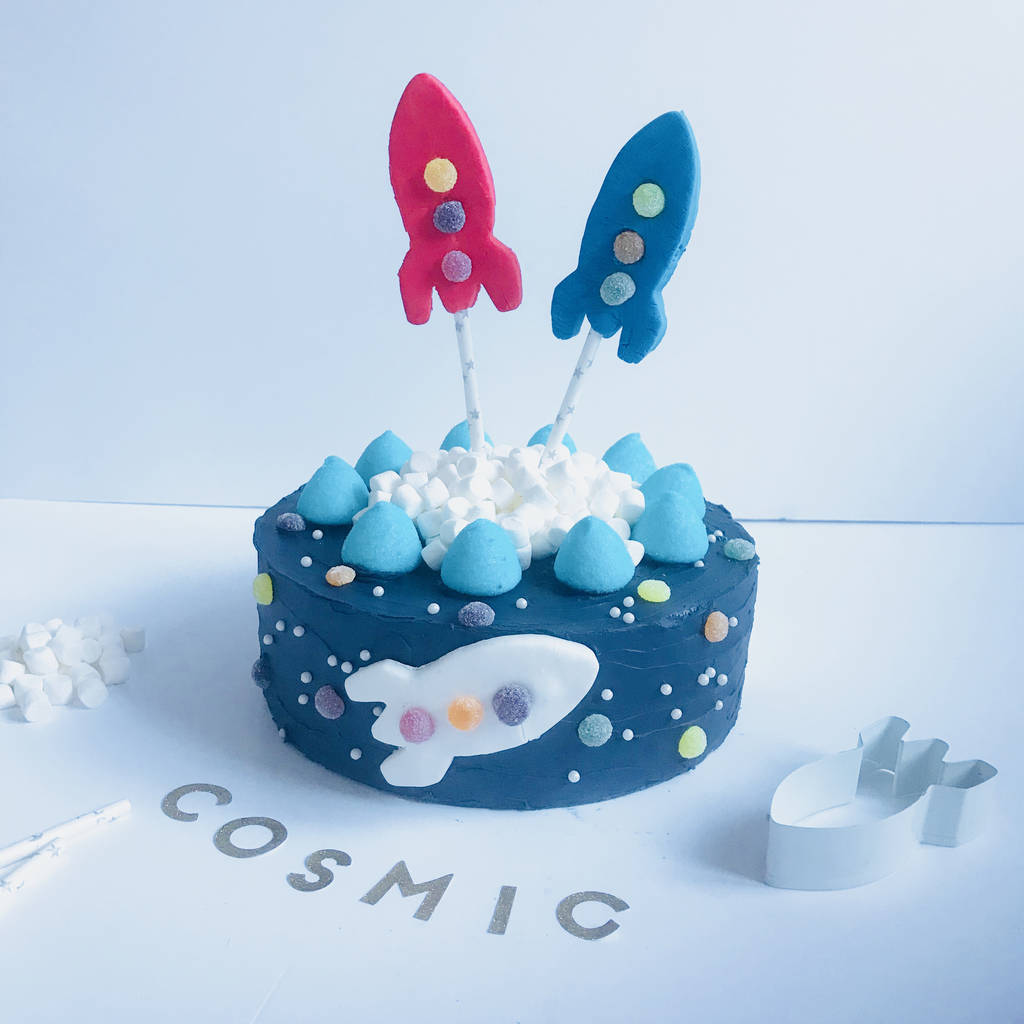 space rocket birthday cake kit by craft & crumb | notonthehighstreet.com