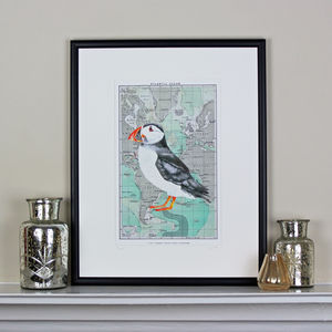 Puffin On Map Of Atlantic Ocean - maps & locations