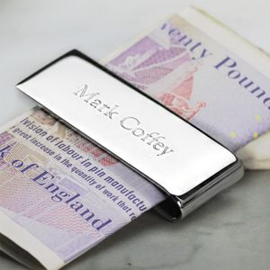 Personalised Silver Money Clip - personalised