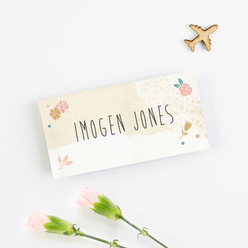 Floral Map Folded Place Card