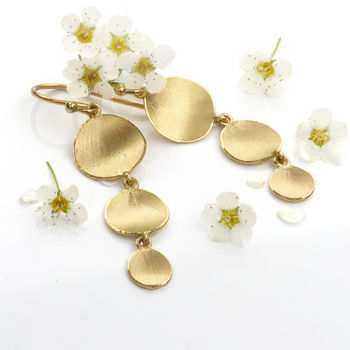 Flower Petal Drop Earrings, 18ct Gold