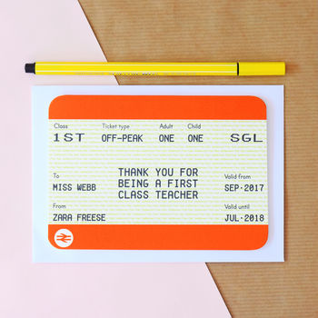 Personalised Train Ticket Card For Teacher