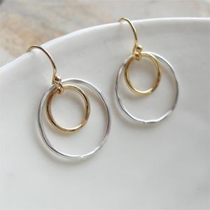 Hammered Silver And Gold Circle Earrings - earrings