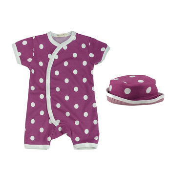 Polka Dot Short Baby Romper And Sun Hat