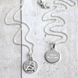 Personalised Silver Guardian Angel Pendant - necklaces & pendants