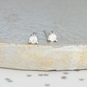 Silver And Zirconia Teardrop Stud Earrings - earrings