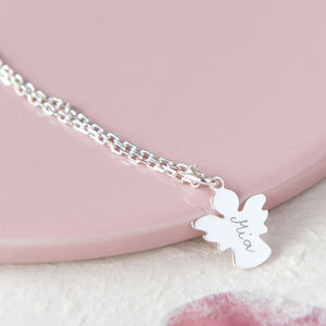 Personalised Guardian Angel Charm Chain Necklace - naming day celebration gifts