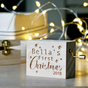 Personalised Traditional First Christmas Music Box - baby's first christmas