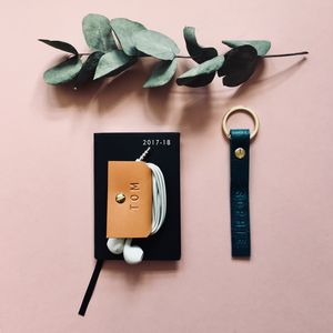 Personalised Leather Earphone Tidy