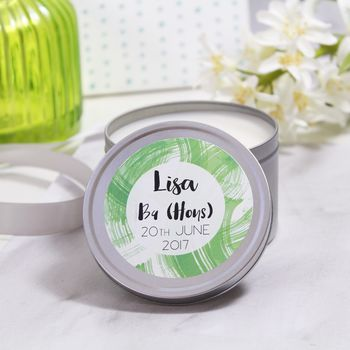 Personalised Graduation Scented Tin Candle