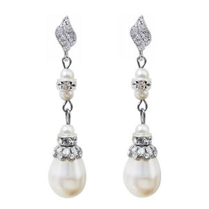 Antique Inspired Long Pearl Drop Earrings