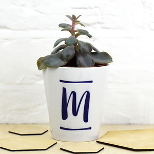 Brush Stroke Initial Plant Pot - new in garden