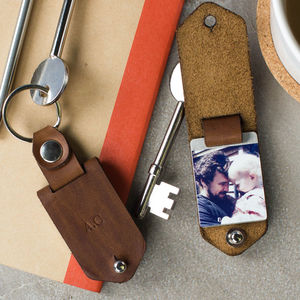 Personalised Metal Photo Keyring With Leather Case - love tokens