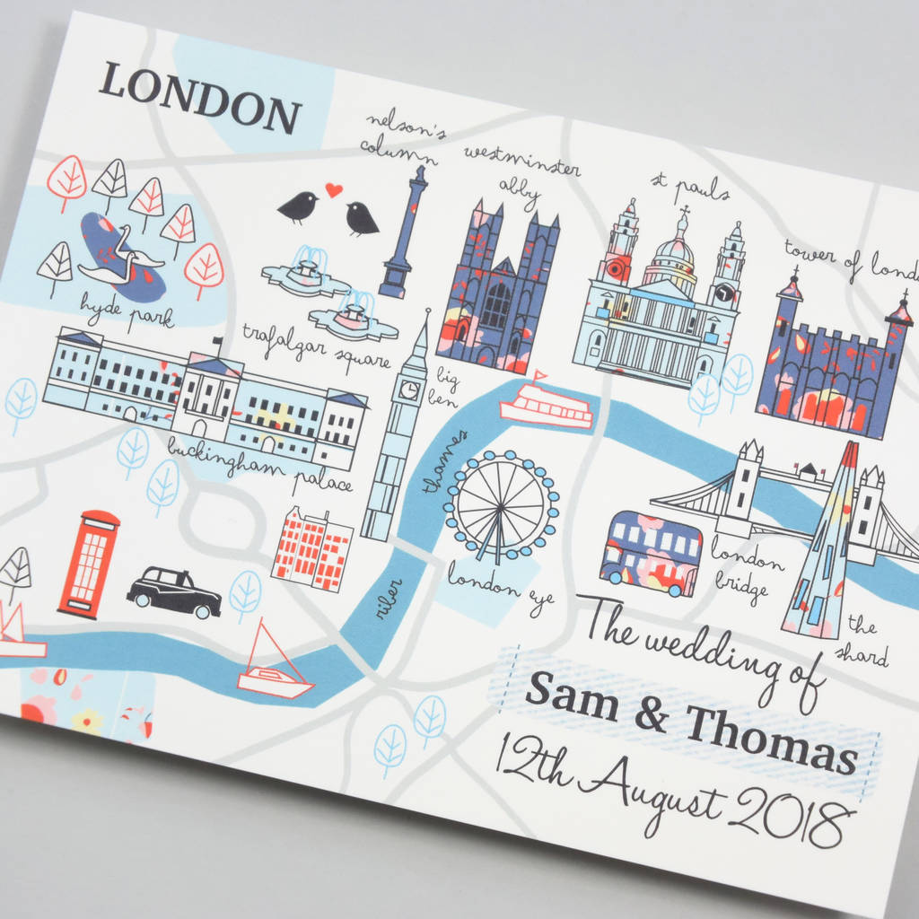 illustrated london map wedding invitation by paper and inc ...