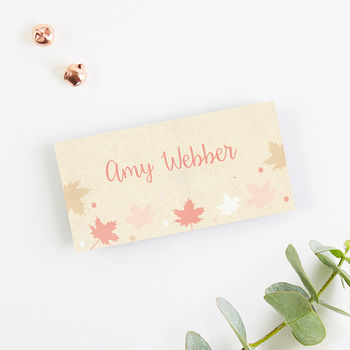 Autumn Leaves Folded Place Card
