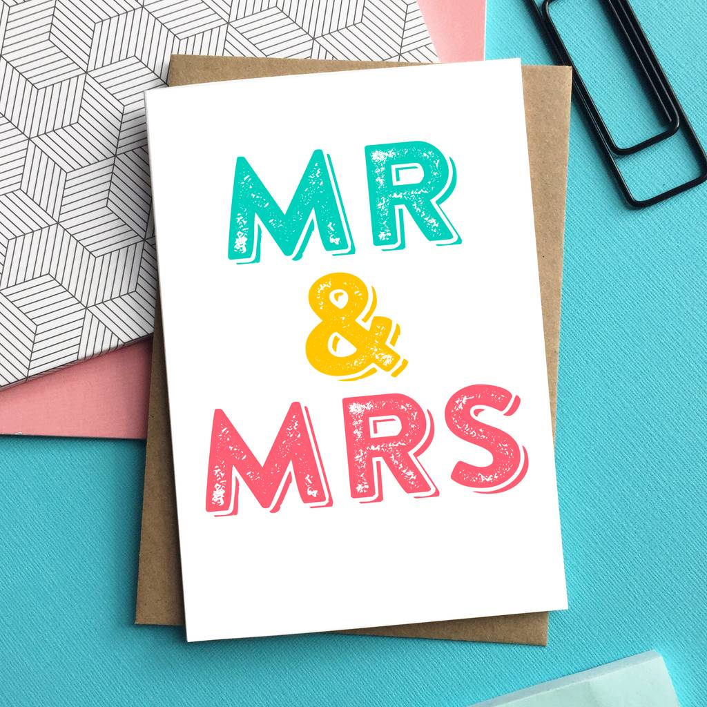Mr and mrs wedding greetings card by do you punctuate mr and mrs wedding greetings card m4hsunfo Choice Image