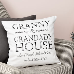 Personalised Grandparents House Cushion