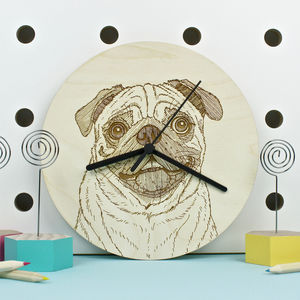 Pug Dog Portrait Wall Clock - bedroom