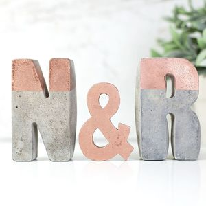 Large Copper Stripe Concrete Initials - engagement gifts