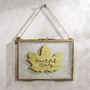 Personalised Silk Leaf Art In Etched Frame - textile art
