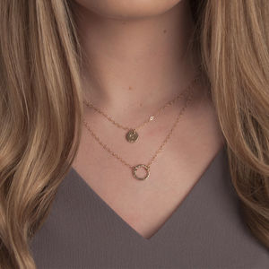 Gold Or Silver Layered Necklace Set With Karma Disc