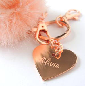 Personalised Engraved Rose Gold Heart Keyring - for friends