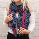 Personalised Blue And Neon Pink Leopard Print Scarf
