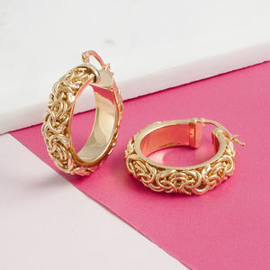 Solid Chain Hoop Earrings In Gold And Silver