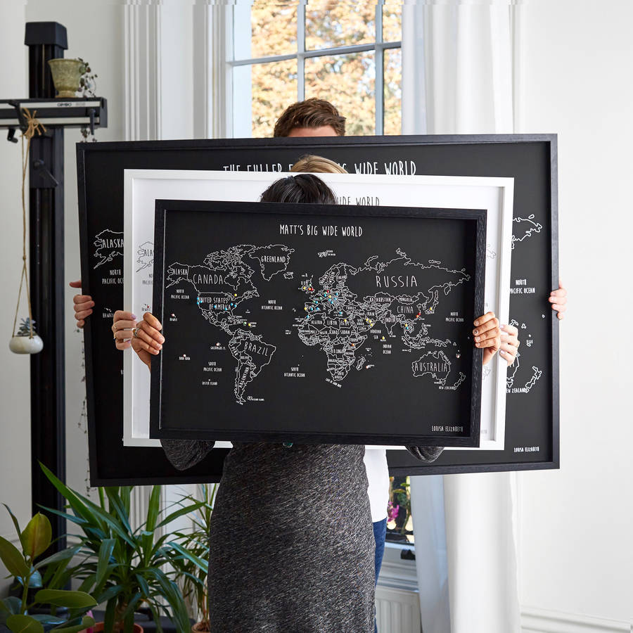 Personalised World Travel Map With Pins By Louisa Elizabeth - Us travel map push pin