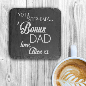 'Bonus' Dad Personalised Square Slate Keepsake