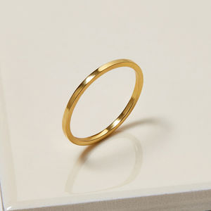 9ct Gold Skinny Square Stacking Ring - rings