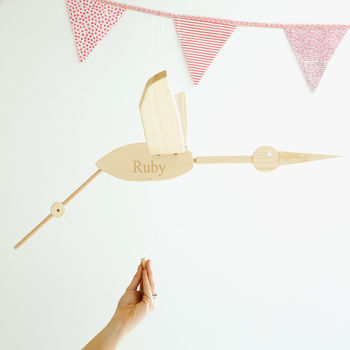 Personalised Wooden Flying Stork Mobile