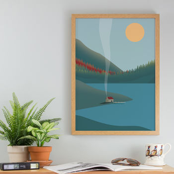 Fishing Lodge In The Mountains Art Print