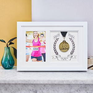 Personalised Marathon Medal And Photo White Frame - picture frames