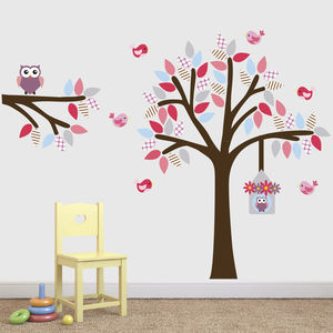 Tree, Branch, Birds And Owls Wall Sticker Set