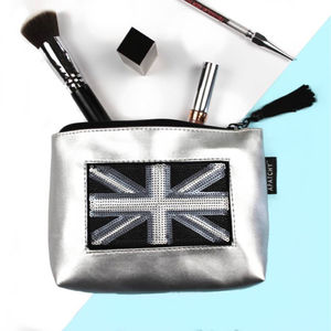Customised Silver Makeup Bag