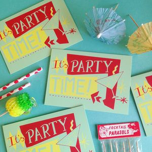 'Party Time' Hand Printed Card - new lines added