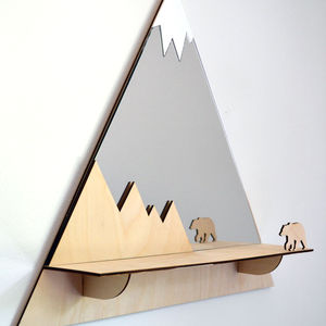 Grizzly Bear Mountain Peak Decorative Mirror And Shelf - more
